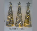New design christmas warm led light glass tree top with silver star