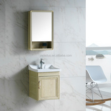 American style solid aluminum wall mounted bathroom cabinet with ceramic basin porcelain vanity with sink for hotel