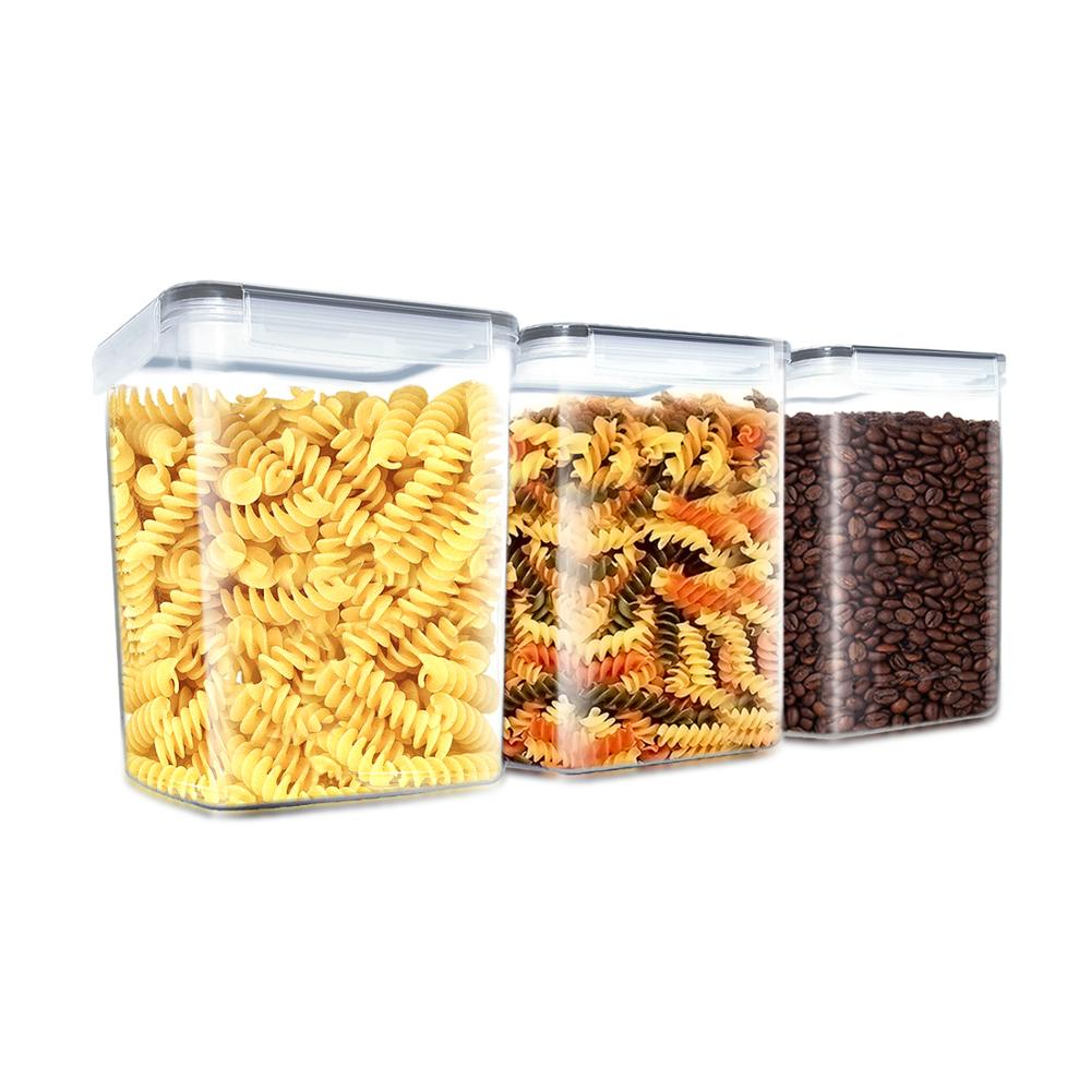 FREE SHIPPING <strong>Plastic</strong> Cereal Container, 4 Side - Locking Lid, Watertight - Bpa-Free <strong>Plastic</strong> - Great Food Storage Set Of 6 packs