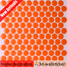 New arrival multicolor kitchen backsplash penny round mosaic dust removal sticker tile for wall decor