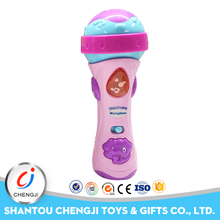 Kids musical instrument plastic mini echo electric microphone toy with light