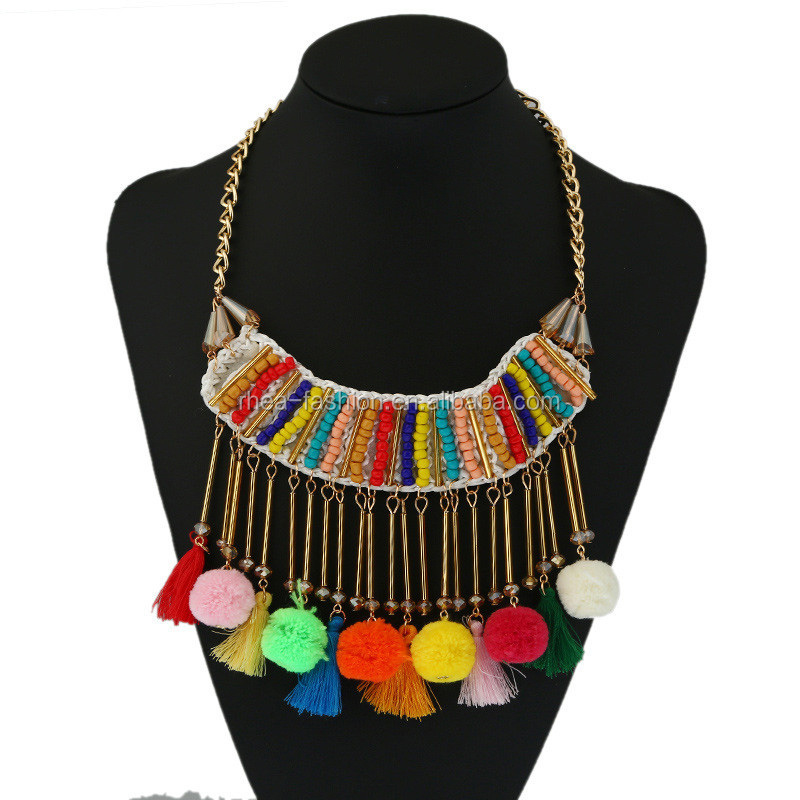 2017 New Bohemian Handmade Cotton Ball Tassel Pendent Necklace Colorful Pompous Choker Statemment Necklace <strong>Jewelry</strong>