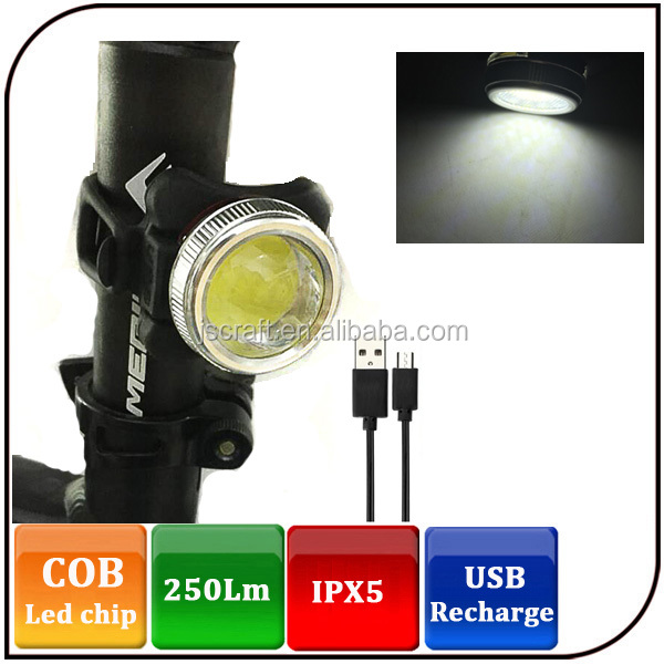 Light weight Super Bright 250LM USB Rechargeable COB Bike Front light