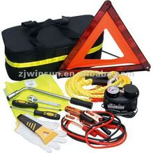 Car Kit/Road Side Safety Tool Set with Air Compressor, Booster Cable and Screwdriver