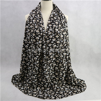 Bubble Chiffon Floral Scarf Fashionable Muslim Pashmina Muslim Shawls Flower Scarves Head Wraps