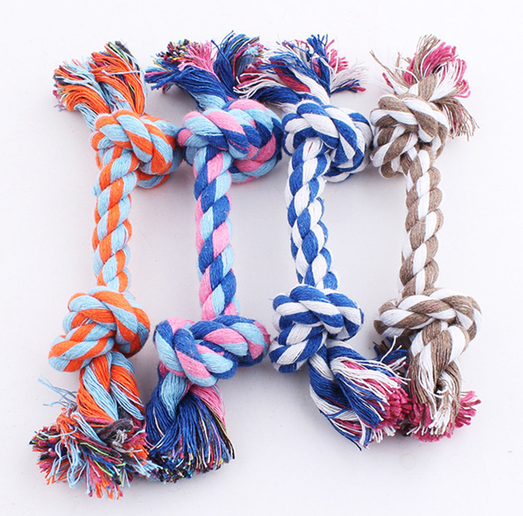 The pet dog toys dogs and cats bite rope double knot anti- bite cotton molar pet toys