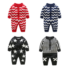 Baby Newborn Girl Chevron Clothes Long Sleeve Maxi Winter Knitted Cotton Rompers