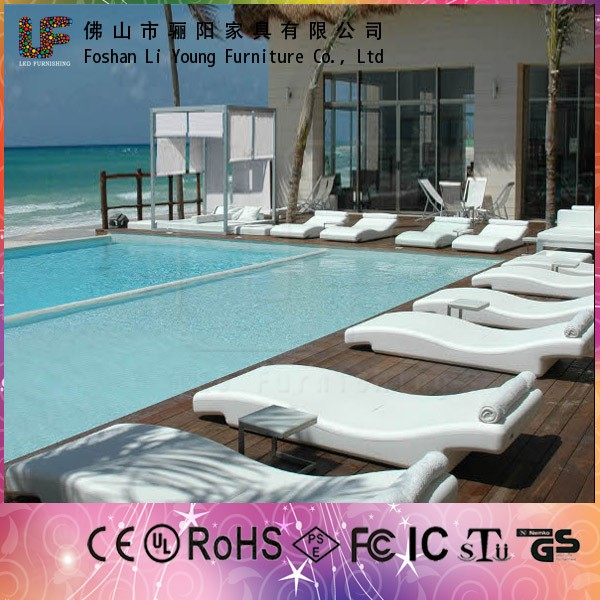 modern waterproof Sea side & swimming pool illuminated White Plastic outdoor led beach lounge chair