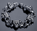 Stainless Steel Punk heavy metal leopard head bracelets