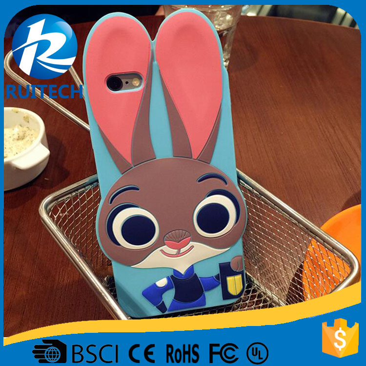 3D Cartoon Rabbit Judy Mobile Phone Silicone Case for iPhone 6S , Back Shell Rubber Cover for iPhone