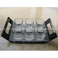 Acrylic Square Tumbler Glass Holder, Acrylic Glass Cup Storage Tray, Acrylic Drink Serving Tray