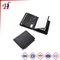 Hot Selling PU Leather A4 Padfolio with Zippered Closure Portfolio Men's and File Folder Portfolio