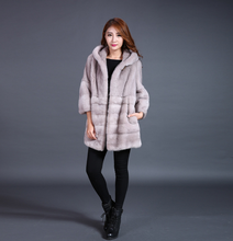 2017 Winter Warmful Elegant Real Mink Fur Coat For Girls