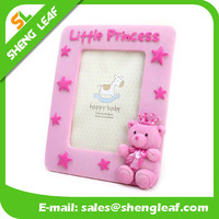 high quality cheap pvc girls' picture frame rubber pink bear love photo frame