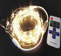 soft warm cool white multi-color red green blue led copper wire string lights with dimmable RF remote control