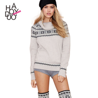 HAODUOYI Women Grey Cowl Neck Knitted Black Pattern Sweater
