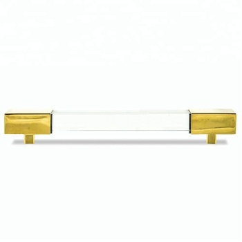 Square Lucite and Brass or Chrome Bar Pull set of 2