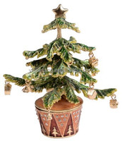 Christmas Tree Enameled Jeweled Box with In-laid Crystals Christmas decoration gifts for her