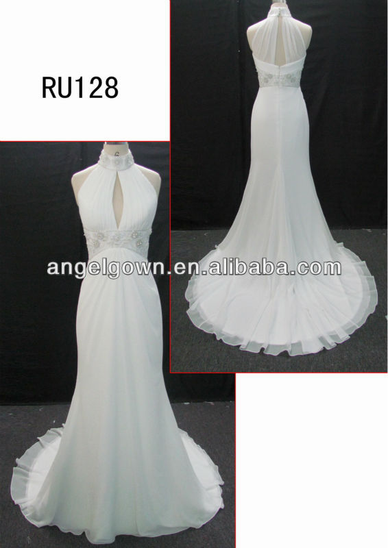 2014 hot style slim chiffon Guangdong design wedding dress