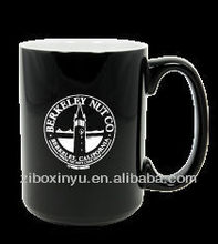 Black mug 14 oz with white LOGO FOR PROMOTION GIFT