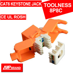 YELLOW Cat 6 Keystone jack toolness, 8-position, 180 degree exit, icon compatible, T568A/B wiring