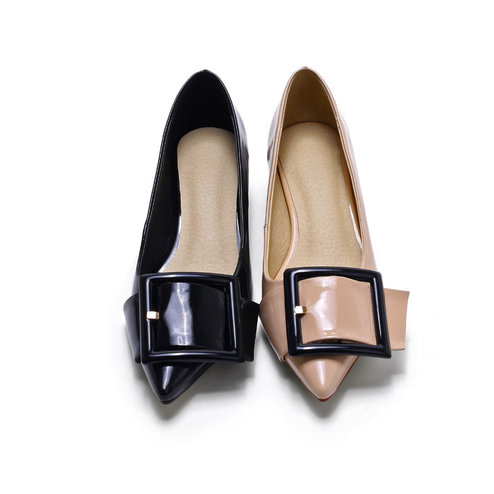 point toe ladies fancy low chunky heel shoes
