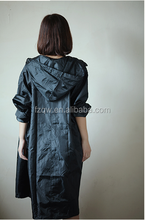 Women polyester long rain coat