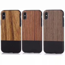 New arrival splice color IMD wood case for iphone X, eco-friendly soft real wood case for mobile phones 4g wood luxury cover