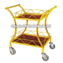Guangzhou BHL Hotel Articles Double-deck Golden Hotel wine serving cart with wheels C-37