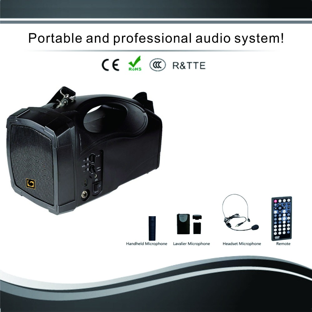 4 inch portable active speaker with bluetooth, USB, TF card, Radio and battery