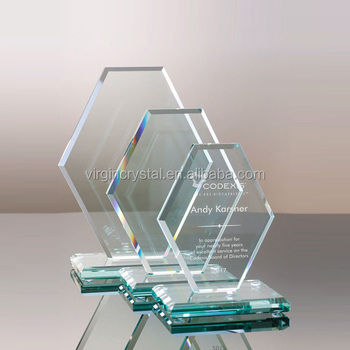 Wholesale high transparency jade octangle shape crystal glass awards with customized logo for souvenir gift