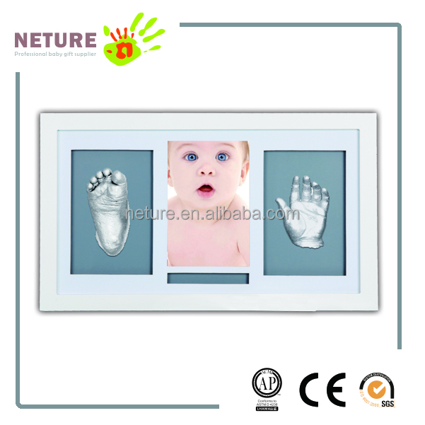 Wood Photo Frames Safe Clay Babyprint Casting Keepsake for Baby Boy Girl hands and foots plaster molding kit.