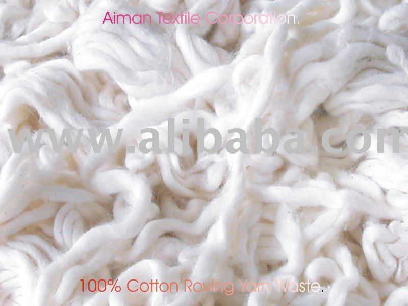 100% COTTON ROVING WASTE ,100% COTTON YARN WASTE, COTTON SIZING YARN WASTE. AT US$ 1.05/KG, 0.75/KG 2X40FCL READY SHIPMENT.