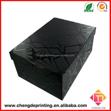 The high-end black colour cardboard shoes boxes