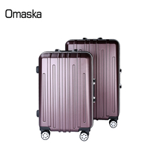 Factory China Supplier High Quality Aluminium Tolley Double Universal Wheels Classic Stripes PC Travel Rolling Luggage Case