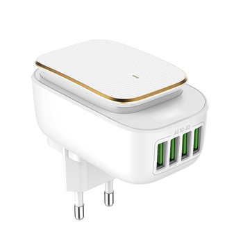 Hot sale 4 ports 4.4A usb travel home wall charger with LED Touch