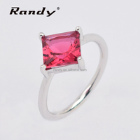 Solitaire Diamond Ruby Zircon Rings Jewelry Gems Plain Ring Ladies