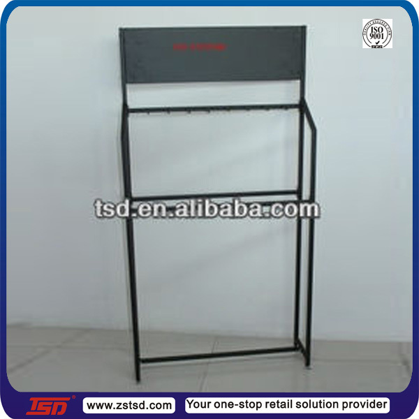 TSD-M025 China factory custom free standing black metal hanging shelf/car accessories display rack/metal exhibition shelf