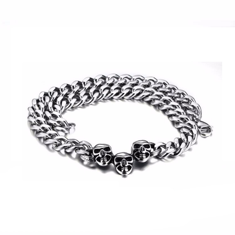 Famous Designer Cheap Stainless Steel Women Silver Skull Chain Necklace Jewelry