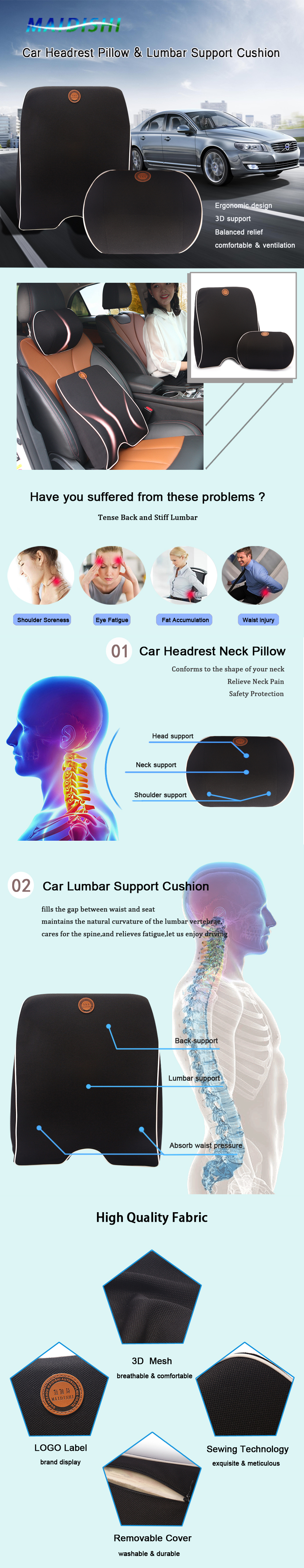 Car Headrest Pillow and Lumbar support back cushion for car driving with memory foam Orthopedic Backrest for Car Seat