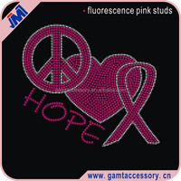 Peace Love Breast Cancer Ribbon Iron On Rhinestone Transfer Designs