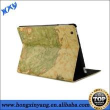 World map painted waterproof real leather case for ipad mini.