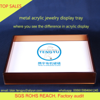 acrylic plexiglass necklace display case tray box counter display stackable rectangle shaped jewelry showcase aluminum