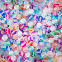 Glass Imitation Glitter Polaris Beads Round Multicolor Frosted About 6mm Dia, Hole: Approx 1.1mm