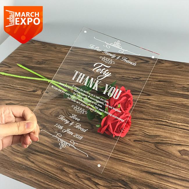 Laser Cut Cheap Clear Printed Plexiglass Acrylic Wedding Invitations