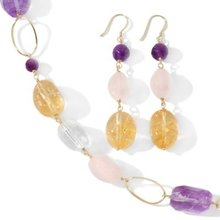 Amethyst, Citrine, Rose Quartz and Clear Quartz Necklace and Earrings Set