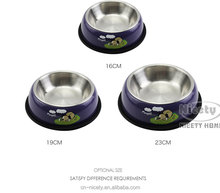cartoon metal dog bowl with anti-skiding rubber rim