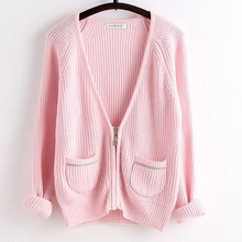 Hot sales basic knit cardigan lady pink color sweater made of acrylic