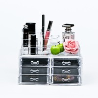 multipurpose transparent makeup acrylic organizer with 6 drawers and flip top lid