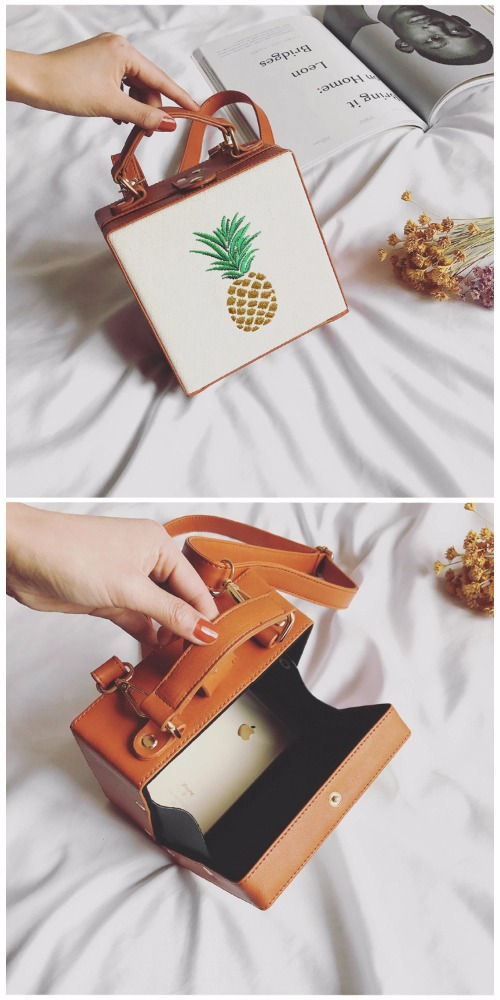 Pineapple Shoulder Personality Funny Women Toast Shape Messenger Bag